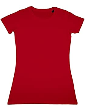 Nakedshirt - Camiseta de manga corta entallada de algodón orgánica modelo Ruth para mujer