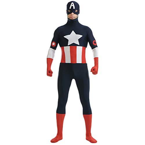 Cosplay Avenger First Kostüm Captain America - QWEASZER Captain America:The First Avenger Erwachsenen Captain America Kostüm PS4 Superheld Anime Zentai Kostüme Männer Film Cosplay Kostüm Overall Onesies,Navy blue-145~160cm