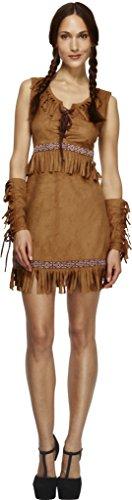 Fever, Damen Pocahontas Kostüm, Kleid und Armmanschetten, Größe: M, (Kind Stiefel Indianer)