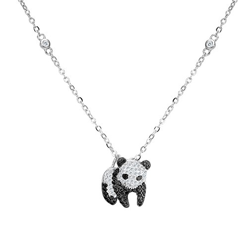 EVER FAITH Women's 925 Sterling Silver Zirconia Cute Panda Animal Pendant Necklace