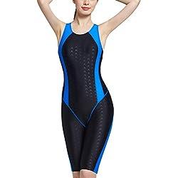 FEOYA Combinaison de Bain Shorty Femme Slim Amincissant Combinaison de Plongée Shorty Coussinet Amovible Maillot de Bain 1 pièce pour Piscine Sport Aquatique Compétition Noir 34-36