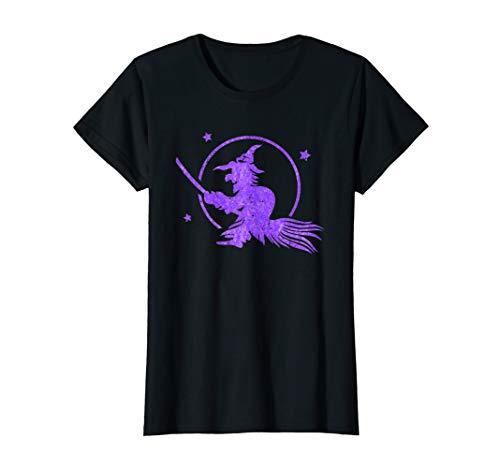 Damen Hexe fliegt auf einem Besen - Vollmond Sterne Wicca Kostüm - Damen Kostüm Druide