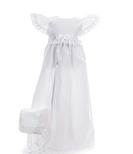 Ausverkauf! Taufkleid traditionell lang Charlotta Weiss Grösse 74 Kurzarm Baby Mädchen Lange Taufkleider Besondere Anlässe Taufe Festlich Kleid mit Haube