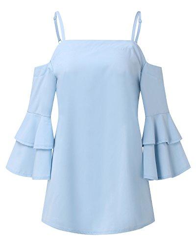 StyleDome Damen Schulterfrei Flounce Lotus Sleeve Solide Tank Tops Shirts Hellblau