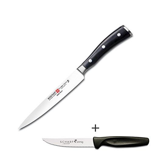 Wüsthof Schinkenmesser Classic Ikon 4506-16cm Set mit SCHARFsinnig Pizza- und Steakmesser ultra-sägescharf