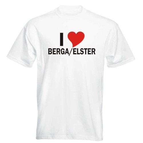 T-Shirt mit Städtenamen - i Love Berga/Elster - Herren - unisex Weiß