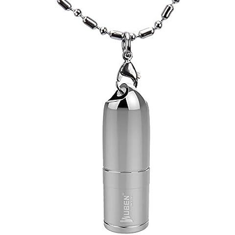 WUBEN® G340 Linterna LED El acero inoxidable Mini Collar Linterna 130 Lúmenes USB Cargador ,2 Modos de Zoomable de la antorcha de la lámpara LED foco ajustable al aire libre IPX7 10180