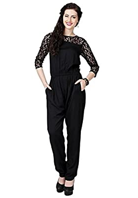The Bebo Black Pure Rayon Straight Elegant Jumpsuit