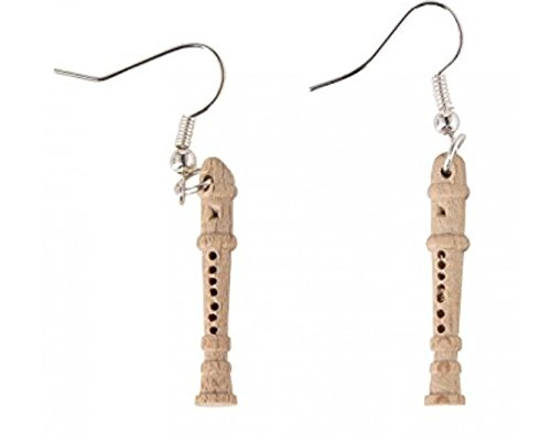 Flauto dolce orecchini gancio Miniblings flauto per flauto musicale di Natale bambini di legno - Legno Bambino Hanger