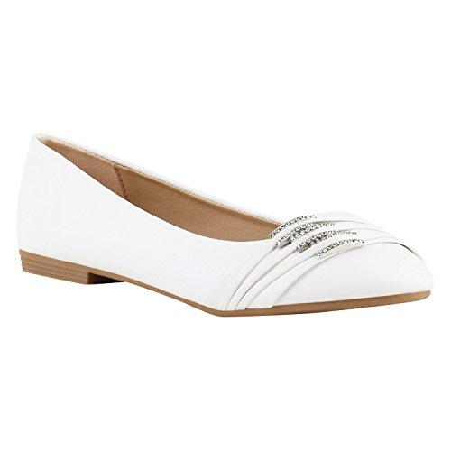 Klassische Damen Strass Ballerinas Elegante Slipper Übergrößen Metallic Glitzer Flats Schuhe 116547 Weiss 43 Flandell