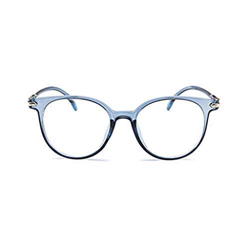 WooCo Retro Brille für Damen und Herren, Räumungsverkauf DEATU Mode Brillengestell Flacher Spiegel Transparente Brillengestell Plain Glass Brillen(Blau,One size)