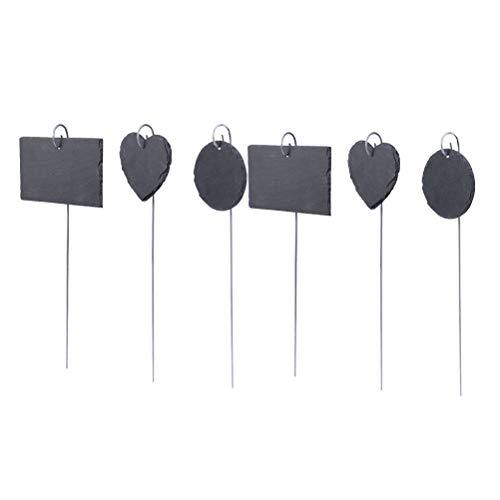 Yardwe 6 Stücke Pflanzen Zeichen Mini Metall Tafel Herz Runde Rechteck Tags Zeichen Etiketten Preisschilder für Hausgarten (schwarz)