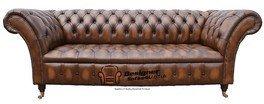 Chesterfield Balmoral Gartenbank 3-Sitzer Sofa, Zweisitzer, Aus Leder, Braun