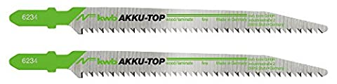 kwb AKKU-TOP Stichsägeblatt 623420 (2 Stück, Holzbearbeitung, DOWN CUT, HCS Kohlenstoffstahl, Länge 116/90 mm) auch (Carbonio Lama Lame)