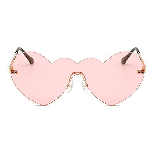 WULE-Sunglasses Unisex Transparente Mode Damen Brille uv400 Schutz goldrahmen persönlichkeit ohne Rand herzförmige Sonnenbrille (Farbe : Pink)