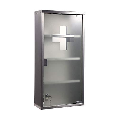 Natsen 4 Fächer Medizinschrank Arzneischrank Erste Hilfe Schrank Edelstahl Silber (60ⅹ30ⅹ12 cm)