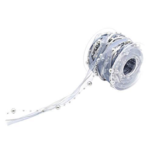 Fenteer 10 Meter Perlen Spitzenbordüre Vintage Perlenband Spitzenborte Spitzenband Perlenkette Perlengirlande - Grau, 10 Meters