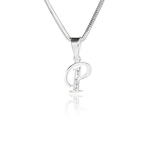 LillyMarie Damen Hals-Silberkette Silber 925 Original Swarovski Elements Anfangs-Buchstabe p Klar Längen-verstellbar Geschenkverpackung Geschenk Freundin Liebe