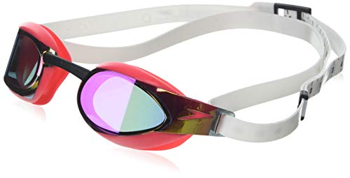 Speedo Fastskin Elite Mirror Schwimmbrille, White/Psycho Red/Red, One Size