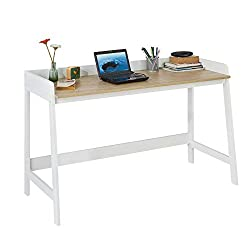 SoBuy FWT41-WN Schreibtisch Tisch Computertisch Bürotisch weiß/natur BHT ca.: 125x80x51cm