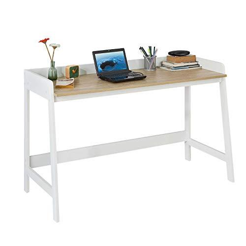 SoBuy® FWT41-WN Schreibtisch, Tisch, Computertisch, Bürotisch, weiß/natur BHT ca.: 125x80x51cm -