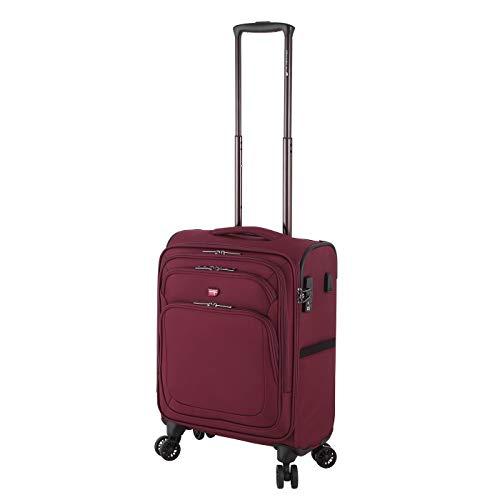 Von Cronshagen Henrik Reise Trolley mit 4 Rollen, hochwertiger weich Koffer aus Stoff (rot, 55 cm Kleiner handgepäckkoffer)