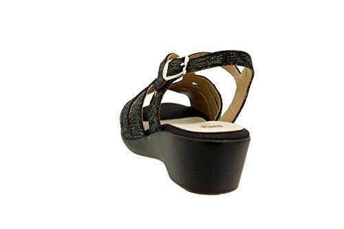 Scarpe donna comfort pelle Piesanto 8555 sandali comfort larghezza speciale Carbón