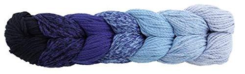 Woolly Hugs Rope Plait 186 blau, Taschengarn, Rope Garn zum Einkaufsnetz oder Tasche häkeln, mit Farbverlauf und Anleitung, 250g