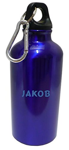 Personalisierte Wasserflasche mit Karabiner mit Text: Jakob (Vorname/Zuname/Spitzname)