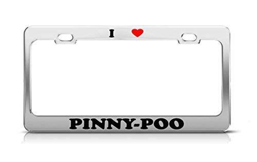 Liz66Ward I Heart Pinny-POO Nummernschild Rahmen für Katzen, Hund, Welpen, lustiges Metall, Chrom -