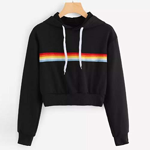 Quaan Damen Lange Ärmel Regenbogen Patchwork O Hals Sweatshirt Beiläufig Bluse zur Seite Fahren...