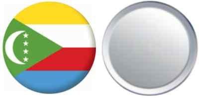 Miroir insigne de bouton Comores drapeau - 58mm