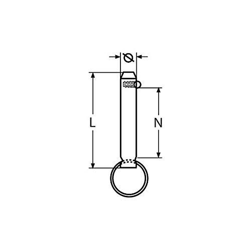 MARINOX Steckbolzen mit Kugelsicherung   V2A, Durchmesser:Ø 8 mm / Nutzlänge 22 mm