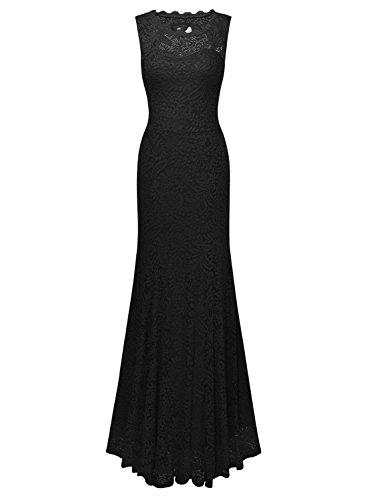 Miusol Damen Kleid Elegant Spitzen Sommer Rueckenfrei Aemerlos Langes Fishtail?Brautjungfer Cocktailkleid Schwarz Gr.L -