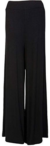 ZEE FASHION Plus Size Womens Plain Palazzo Wide Leg Flared Ladies Printed Trousers Pants 8-26
