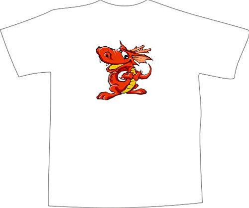 T-Shirt F613 Schönes T-Shirt mit farbigem Brustaufdruck - roter Drache Schwarz