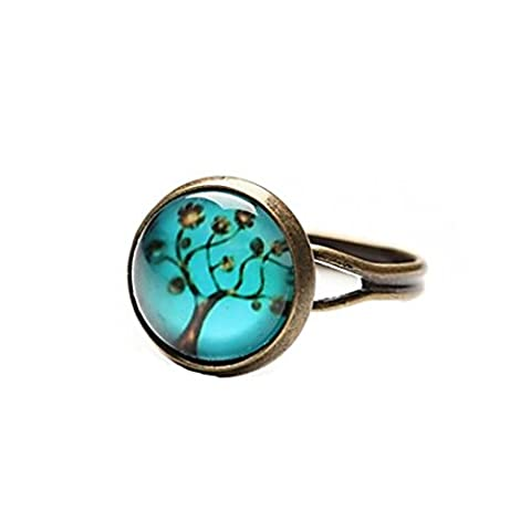 DuZiShi-jz Time Gem Life Tree Art Tree Glass Cabochon Ring (1 Pair) , one size