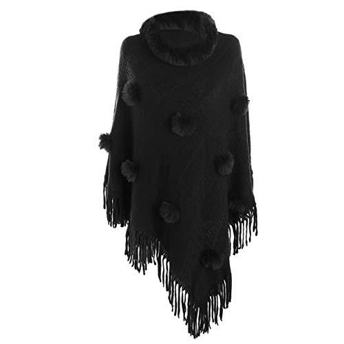 Scialli donna elegante cerimonia inverno caldo moda tinta unita manica nappa collo di pelliccia scialle sciarpa cachemire scialle in cashmere con collo in pelliccia (taglia unica, nero)