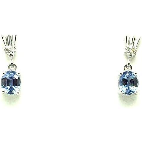 1,30carati Blu Ceylon Zaffiro e Diamante Orecchini In Oro Bianco 9K - Ceylon Sapphire