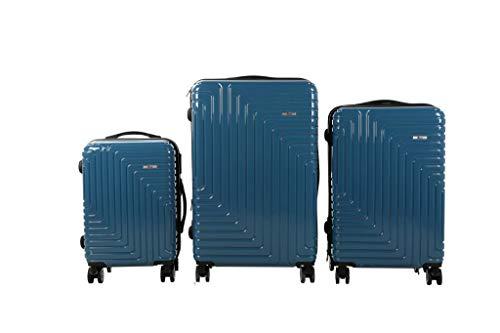 3 TLG TSA Kofferset IMEX Koffer Trolley HARTSCHALE POLYCARBONAT ABS GESCHÜTZES Design Model 3600 BLAU