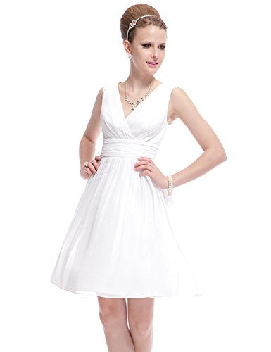 Ever Pretty Double V-neck Ruched Waist Ivory Women's Short Party Dress 03989
