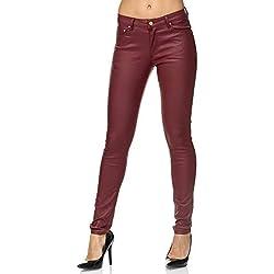 Elara Mujer Skinny Fit Treggings | Leggings de Cuero sintéticos | Pantalones con Efecto Push up | Chunkyrayan E621-2 Red-36