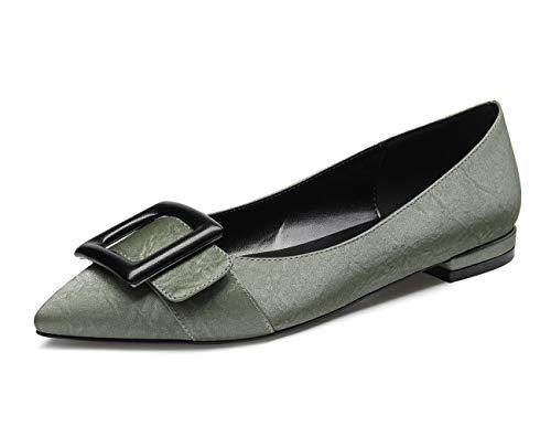 CASTAMERE Zapatos Planos Cómodos Bailarinas para Mujer Puntiagudas Tacón Ancho Textura Verde Zapatos...