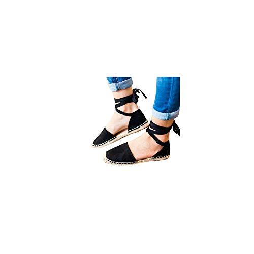 Damen Espadrilles mit Bändern zum Schnüren, Klassische Flache Sandalen Sommer Strand Elegante Sandaletten Schöne Sommerschuhe Celucke (Schwarz, EU39) -