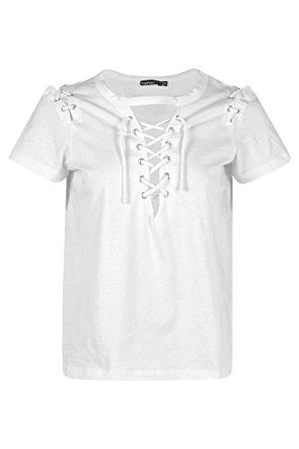 blanc Femmes Petite Demi T-shirt À Col Et Épaules À Lacets Blanc
