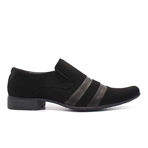 London Footwear ,  Herren Durchgängies Plateau Sandalen mit Keilabsatz Black Suedette