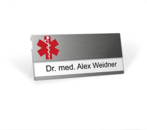 Modernes Namensschild mit branchenspezischem Logo Arzt, MSF mit starkem Doppelmagnet, Clip und Nadel, Silberfarben, selbstbeschriftbar mit Ihrem Wunschnamen , wiederverwendbar, Namensschildchen für Kleidung, Arztpraxis, Doktor