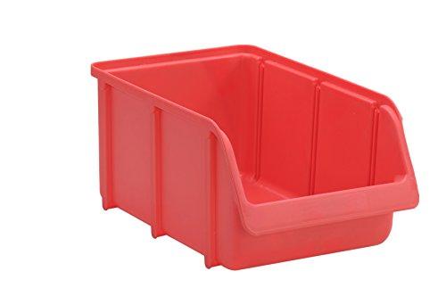 hünersdorff Sichtbox / Stapelbox / Lagerbox in Größe 4, stapelbar, Farbe: Rot
