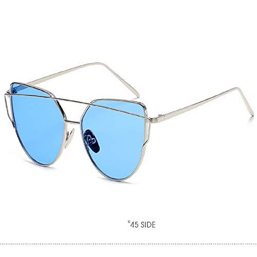 Vintage Metal Sonnenbrille - UV-Schutz-rundes Metall Fram Sonnenbrille, kleines Gesicht Brillen für Männer und Frauen, die sich für verschiedene Frisuren und Gesichtsfarbe - silber-blau