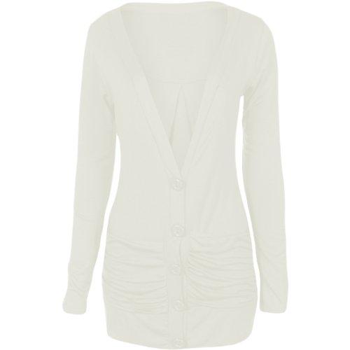 Flirty Wardrobe Cardigan boutonné avec poches avant Femme Jaune - Crème